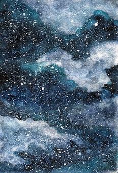 Hermoso cielo nocturno de invierno de acuarela