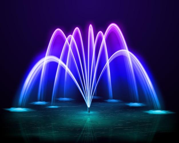 Hermoso colorido baile fuente de chorro de agua al aire libre en el diseño de fondo de noche oscura realista