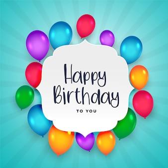 Hermoso colorido globos de feliz cumpleaños fondo