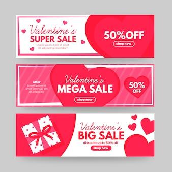 Hermoso conjunto de banners de venta de san valentín