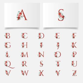 Hermoso conjunto de colección de logotipo de letra inicial floral