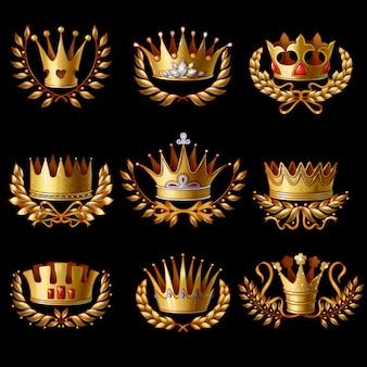 Hermoso conjunto de coronas reales de oro