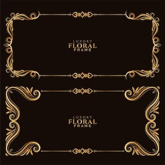 Hermoso conjunto de diseño de borde de marco dorado