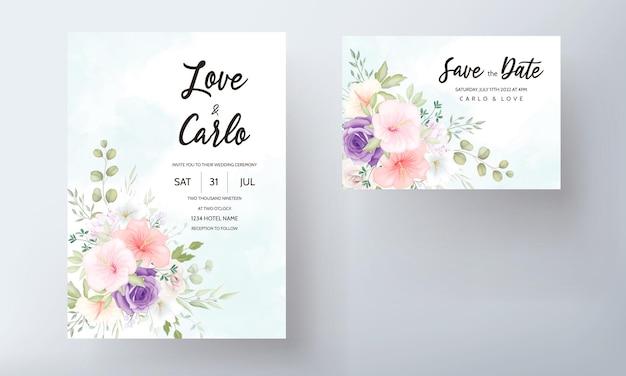 Hermoso conjunto de diseño de tarjeta de invitación de boda dibujado a mano