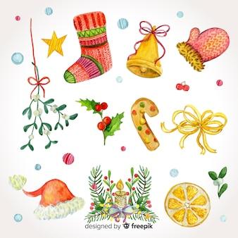 Hermoso conjunto de elementos de acuarela de navidad
