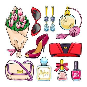 Hermoso conjunto de elementos femeninos