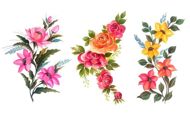 Hermoso conjunto floral conjunto ilustración vectorial