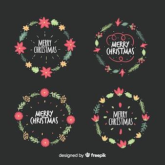 Hermoso conjunto de flores y guirnaldas de navidad dibujados a mano