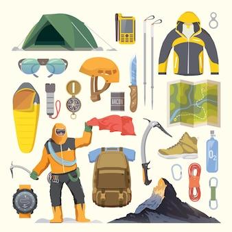 Hermoso conjunto de iconos planos sobre el tema de la escalada