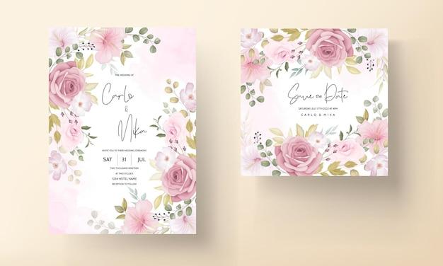 Hermoso conjunto de invitación de boda floral suave dibujado a mano