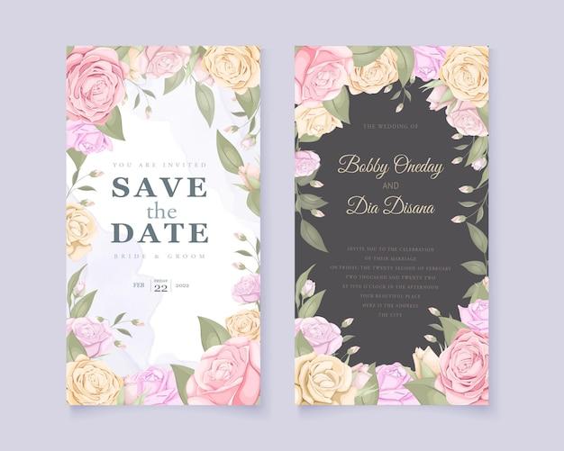 Hermoso conjunto de invitación de boda floral