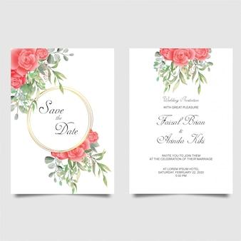 Hermoso conjunto de invitación de boda rosa roja anémona blanca flores