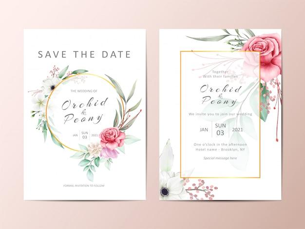 Hermoso conjunto de invitación de boda de rosas rojas y flores de anémona blanca