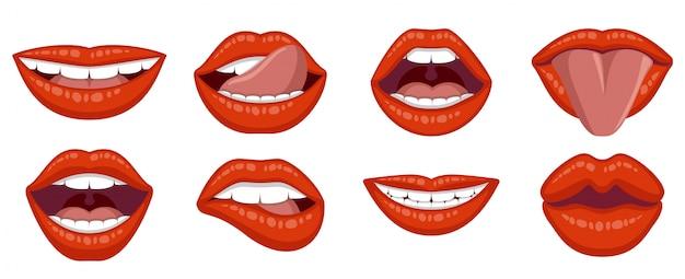 Hermoso conjunto de labios de las mujeres.