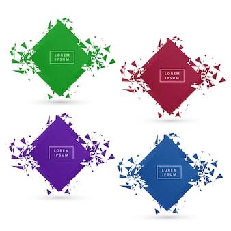 Hermoso conjunto moderno banner colorido roto conjunto