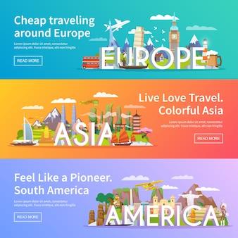 Hermoso conjunto de pancartas planas sobre el tema asia