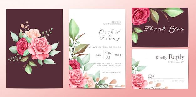 Hermoso conjunto de plantillas de invitación de boda floral de flores rosas