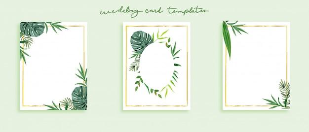 Hermoso conjunto de plantillas de tarjetas de boda.