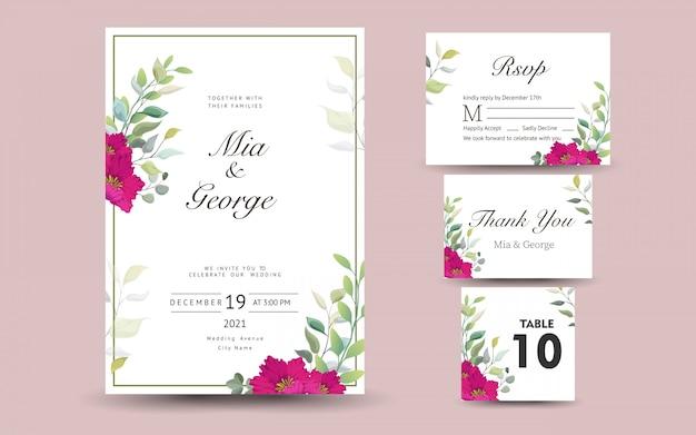 Hermoso conjunto de tarjeta de felicitación decorativa o invitación con diseño floral