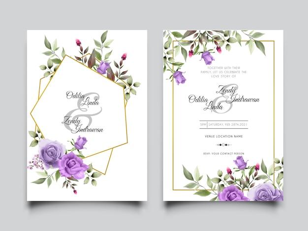 Hermoso conjunto de tarjetas de invitación de boda de acuarela de rosas púrpuras