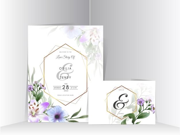 Hermoso conjunto de tarjetas de invitación de boda de flor de lirio dibujado a mano
