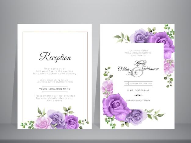 Hermoso conjunto de tarjetas de invitación de boda floral acuarela