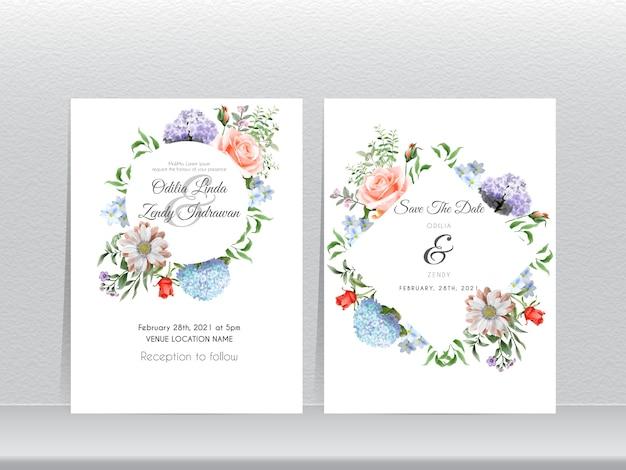 Hermoso conjunto de tarjetas de invitación de boda de hortensias dibujadas a mano