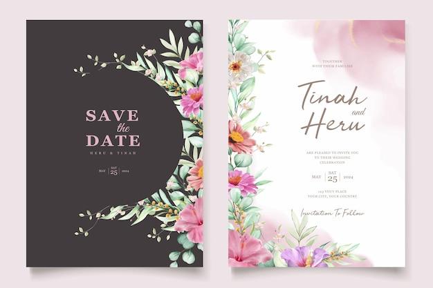 Hermoso conjunto de tarjetas de invitación de boda con rosas dibujadas a mano y lirio