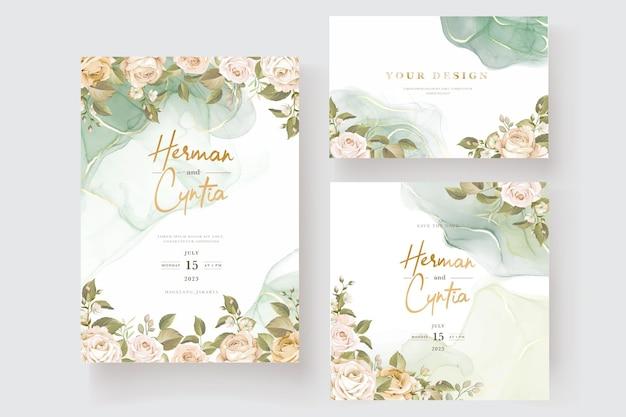 Hermoso conjunto de tarjetas de invitación de boda rosas dibujadas a mano vector gratuito