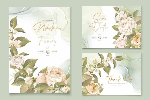 Hermoso conjunto de tarjetas de invitación de boda rosas dibujadas a mano