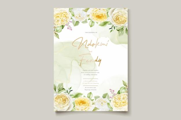 Hermoso conjunto de tarjetas de invitación de boda con rosas dibujadas a mano