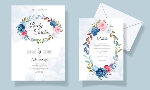 Hermoso conjunto de tarjetas de invitación de flores y hojas