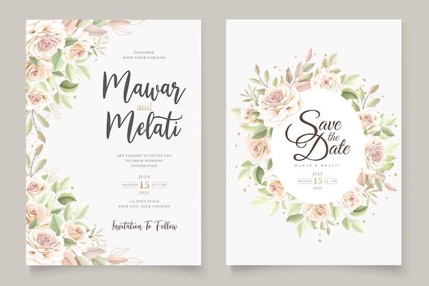 Hermoso conjunto de tarjetas de invitación de rosas suaves