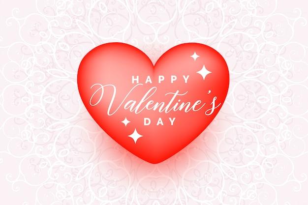 Hermoso corazón de amor para feliz tarjeta de felicitación del día de san valentín