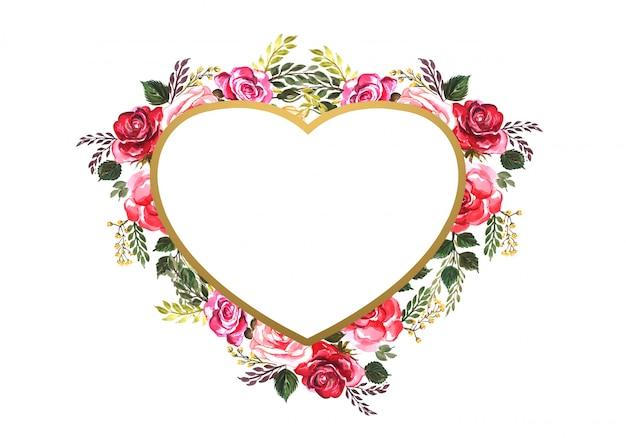Hermoso corazón de flores decorativas de san valentín