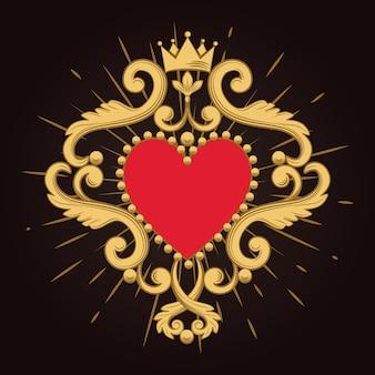 Hermoso corazón rojo ornamental con corona sobre fondo negro.