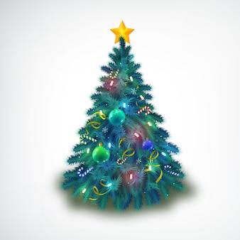 Hermoso decorado con adornos y estrellas árbol de navidad en blanco