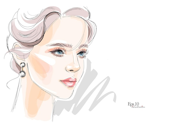 Hermoso dibujo de hermoso maquillaje para ojos y labios.