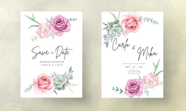 Hermoso dibujo a mano acuarela planta suculenta y flor rosa plantilla de invitación de boda