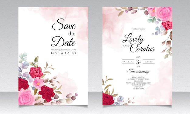 Hermoso dibujo a mano alzada, diseño floral de invitación de boda