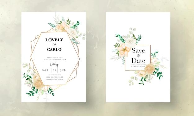 Hermoso dibujo a mano suave plantilla de conjunto de invitación de boda floral