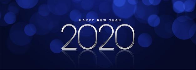 Hermoso diseño de banner azul bokeh año nuevo 2020