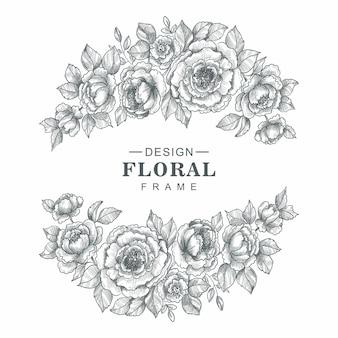 Hermoso diseño de boceto de marco floral decorativo