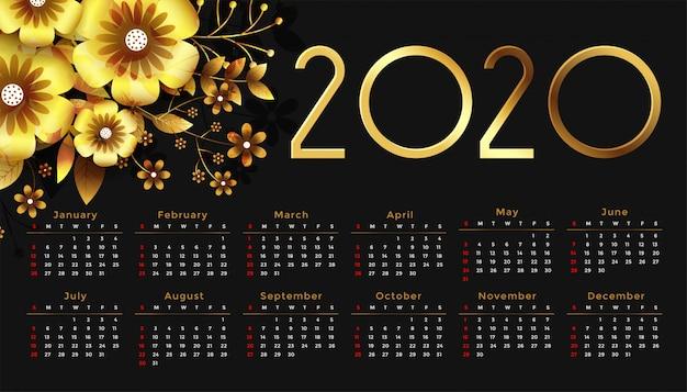 Hermoso diseño de calendario de feliz año nuevo de flor de oro 2020