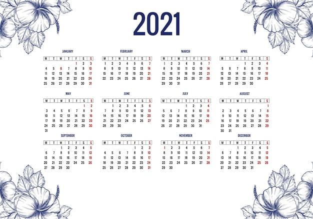 Hermoso diseño de calendario floral 2021