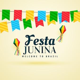 Hermoso diseño de festa junina con guirnaldas