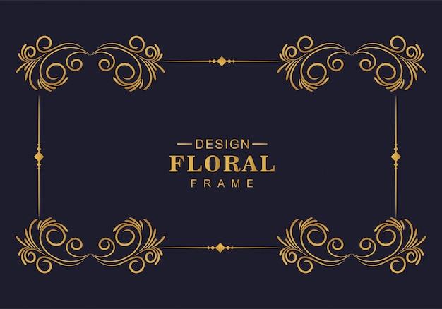 Hermoso diseño decorativo de marco floral dorado