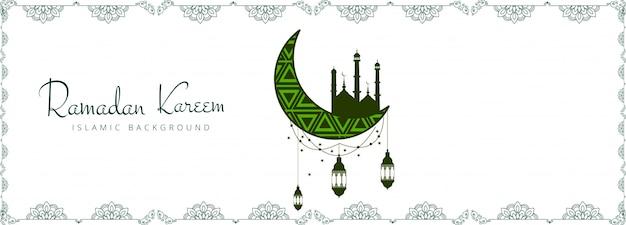 Hermoso diseño decorativo de ramadán kareem banner
