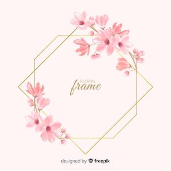 Hermoso diseño dorado de marco floral