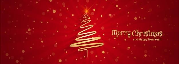 Hermoso diseño feliz de la plantilla de la bandera del árbol de navidad